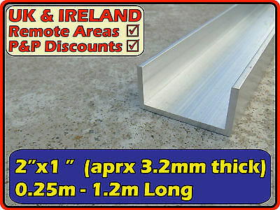 "Aluminium Channel (C U section, gutter) | 2""x1"" ( 50mm  25mm) 2x1"