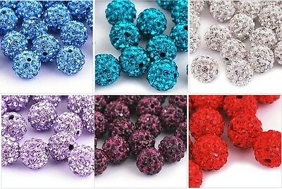 Wholesale 240 Pcs Crystal Shamballa Beads Pave Disco Balls 10MM Mixed Colors New