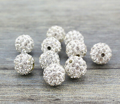 Wholesale 200 Pcs Cz Crystal Shamballa Beads Pave Disco Balls White Color 10MM