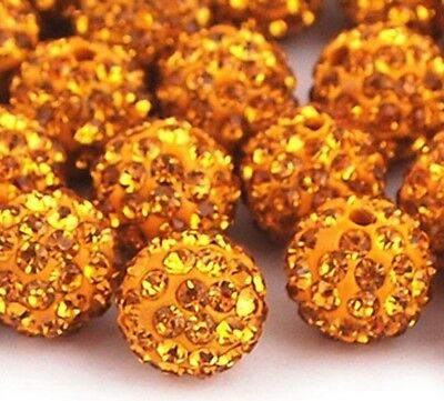 Shamballa Beads 100 Pcs Glod Crystal Pave Disco Balls Fit Diy Bracelet 10MM New
