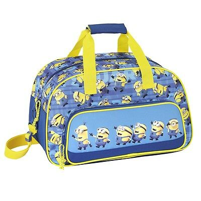 Minions Blue Travel Sports Bag Gym Holiday Weekend Sleepover Boys Messenger Bag