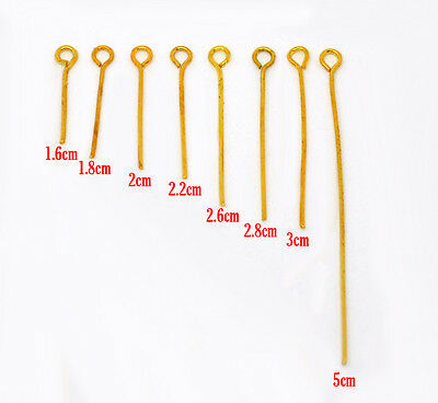 800 GOLD PLATED EYE PINS~8 different sizes in pack~JEWELLERY MAKING (94H)UK