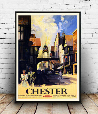 Chester , Reproduction vintage Travel advertising poster, Wall art.