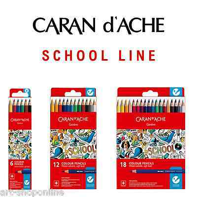 Caran D'Ache School Line Water Soluble Colour Pencils Box of 6 12 18