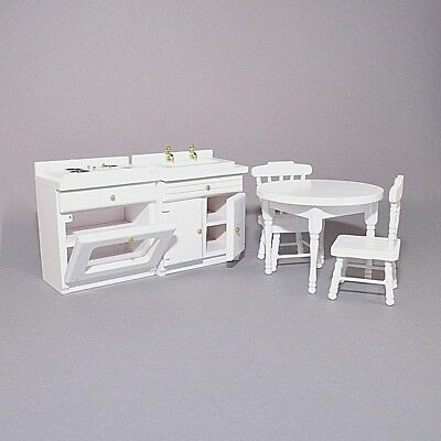 Dolls House White Kitchen Set: Cooker + Sink Unit + Table + 2 Chairs 12th scale