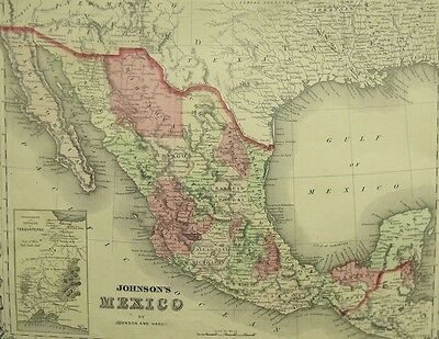 Johnson & Ward Detailed Antique Map Of Mexico 1864