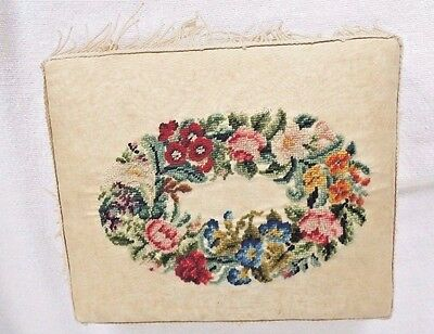 Antique Pincushion BERLIN WORK  on SILK Moire, Wool Embroidery