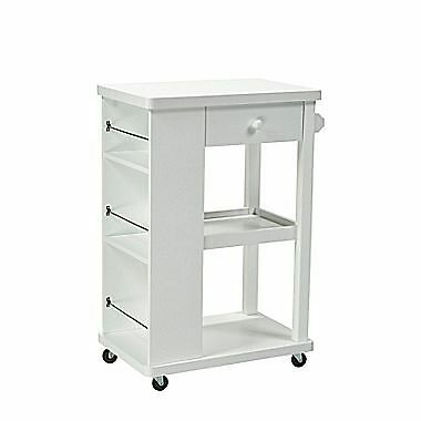 Candace & Basil Kitchen Cart with Storage Drawer – 2 Storage Shelves and 3 Si...