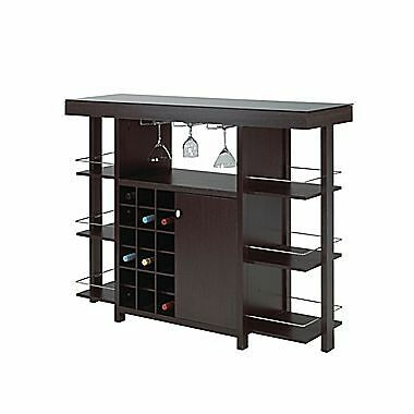 Candace & Basil Bar with Smoked Glass Top – 54 x 16 x 43 – Espresso