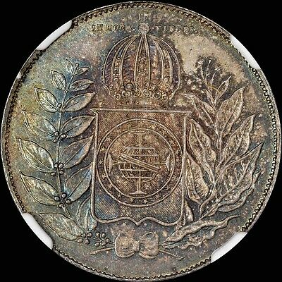Finest & Only @ Pcgs & Ngc Ms62 Brazil 500R Reis Beautiful Lustrous Toned Silver