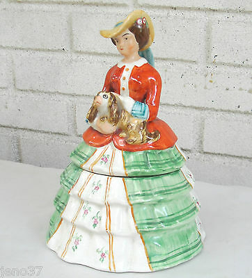Antique Staffordshire Lady with Bonnet Holds Spaniel Dog Humidor or Tea Caddy