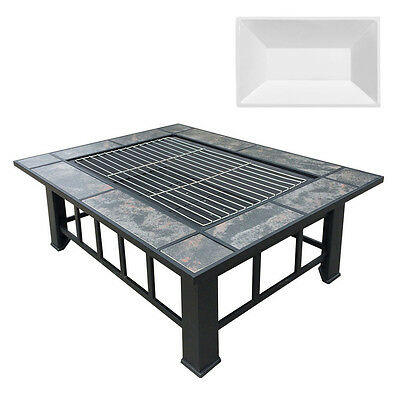 Outdoor Fire Pit BBQ Table Grill Fireplace w/ Ice Tray 9444 Garden Party Heater