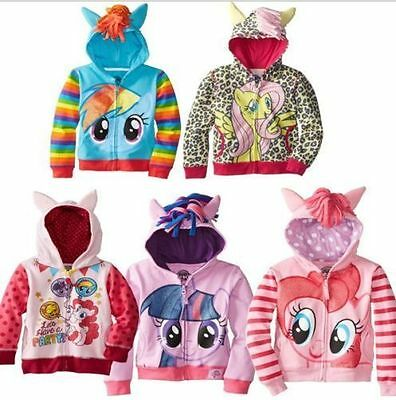 My Little Pony Wing Girls Kids Toddler Hoodie Cute Sweatshirt Coat Zip Jacket -1