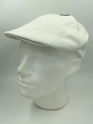 Unisex 6 Panel White Cotton Flat Cap Ht2101 Bnwt