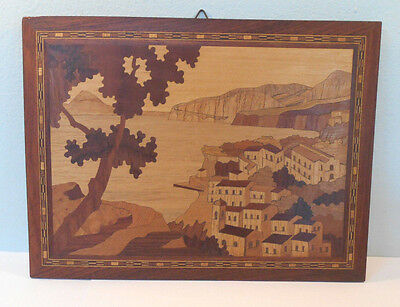 Mosaic Inlaid Wood Marquetry VTg SORRENTO, ITALY wall Hanging-Parquet Art