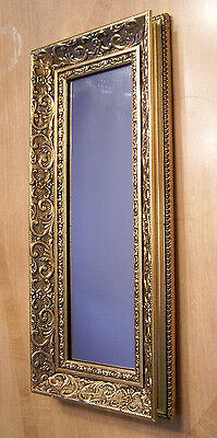 Antique Gold Ornate Scrollwork Wood Small Oblong Narrow Wall Mirror 10X22 ExcCon