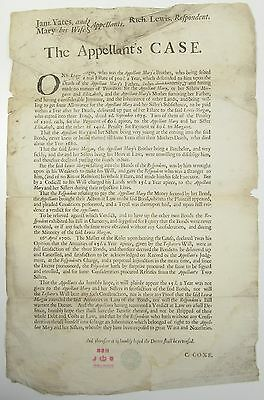 SCARCE BROADSIDE POSTER The Appellants Case Property Estate Dispute Law 1702