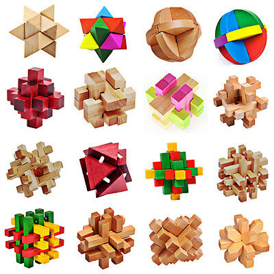Intelligence Wooden Wood 3D IQ Puzzle Brain Teaser Magic Cube Toy For Kids Baby