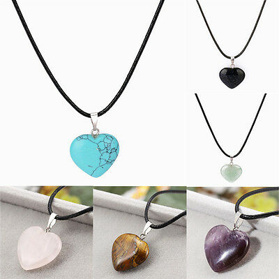 Leather Heart Natural Stone Quartz Crystal Pendant Necklace Healing Point Chakra