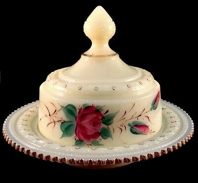 Ring Band Butter Dish Covered Rose Custard Decoration Pattern Glass Heisey 1901
