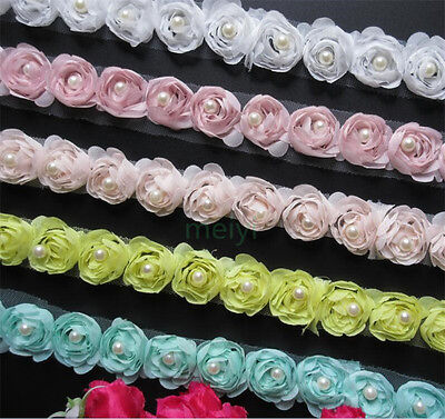 15 Flowers Pearl Lace Edge Trim Wedding Chiffon Ribbon Applique DIY Sewing Craft