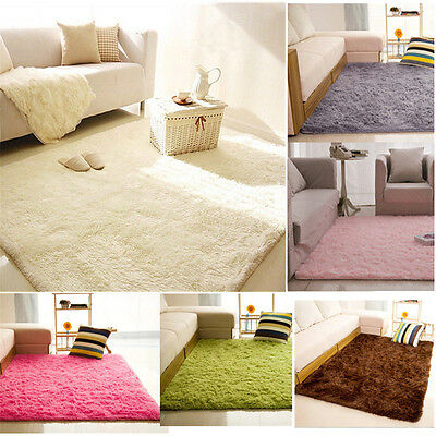 Large Fluffy Rugs Anti-Skid Shaggy Area Rug Dining Room Home Carpet Floor Mat