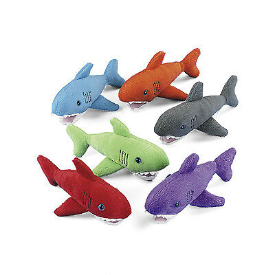 12 Plush Colorful SHARKS Stuffed Animals Marine Beach Party Favors UNDER THE SEA