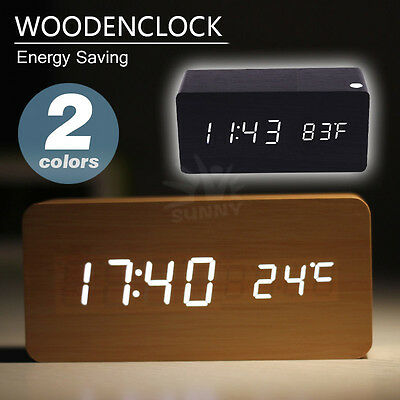 Digital Clock Voice Sound Activated Wood LED Alarm Powered By USB/AA Battery