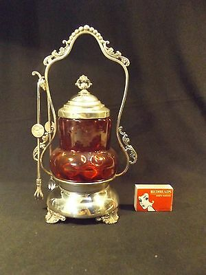"""C.1900 Ruby Glass Pickle Jar On Silver Plate Stand """"wr"""" Maker New York & Tongs."""
