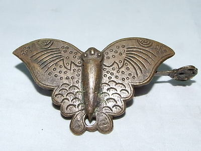 Rare Chinese old style Brass Carved butterfly padlock lock and key