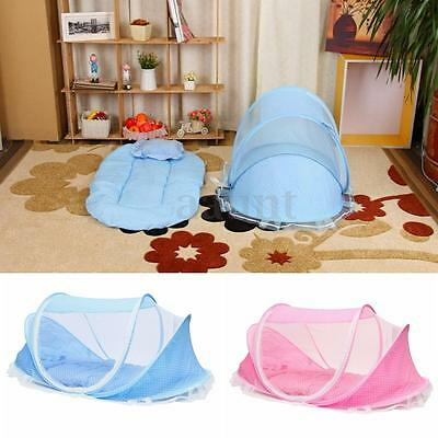 Portable Foldable Baby Kids Infant Bed Dot Zipper Canopy Mosquito Net Tent Set