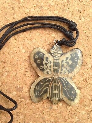 Butterfly Shape Pendant / Necklace - Water Buffalo Horn Hand Carved in Thailand