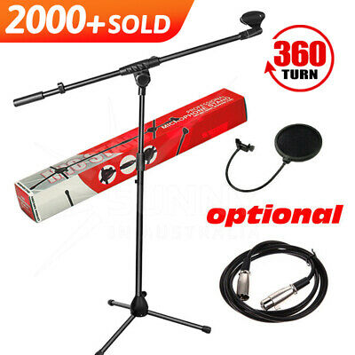 Telescopic Boom Microphone Stand Adjustable Mic Holder Tripod 1 to 2M