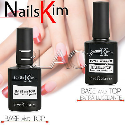 Nailskim Base E Top Coat 10Ml Per Smalto Semipermanente Professionale Per Unghie