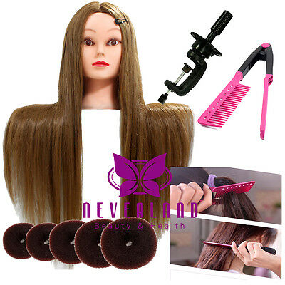 "26"" Long Hair Hairdressing Training Mannequin Practice Head + Clamp Comb Donuts"