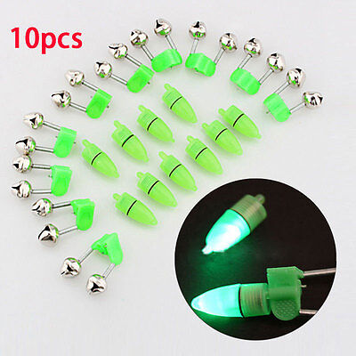 10pcs Fishing Bells Clip with Glow In Dark Stick Holder Fishing Tackle Special