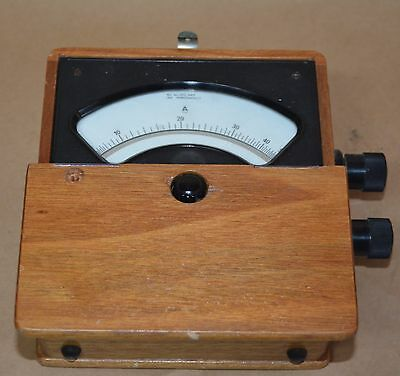 Vintage AMP Meter to 50 amps in wooden carry case