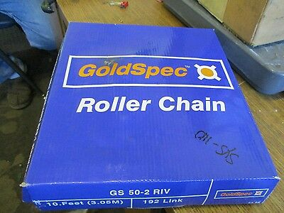"New Goldspec Roller Chain 10Ft 192 Links 5/8"" Pitch Gs 50-2 Riv"