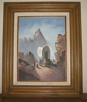 Western Mountain Wagon Train Signed Peterson (maybe Charles) oil/canvas Painting