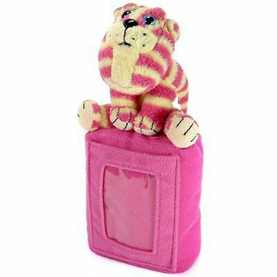 Vintage 1990s Soft Plush Pink & White Bagpuss Beanie Picture Frame Cat Toy Teddy