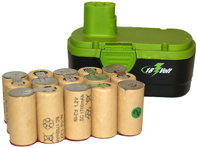 15 pcs (1 Pack) 18 Volt Sub C 1700 mAh NiCd Batteries (Ideal for Pack Assembly)