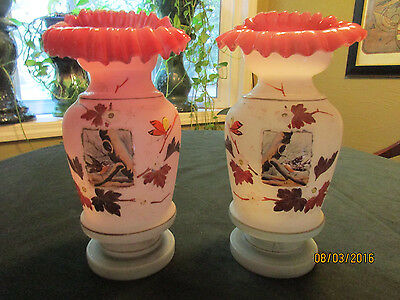 Vintage Pair Of Pink Bristol Glass Vases With Ruffled Tops
