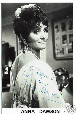 Anna Dawson Actress Benny Hill Hand Signed Photograph 5 x 3  & Card