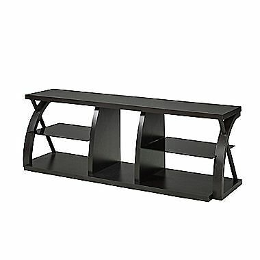 Candace & Basil 60″ TV Stand with Smoked Glass Shelves – Dark Cherry – 60 x 1...