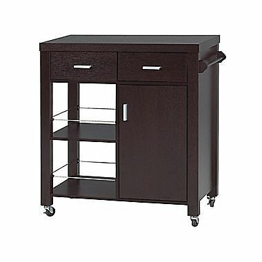 Candace & Basil Kitchen Cart with 2 Storage Drawers – Cupboard with Shelve an...