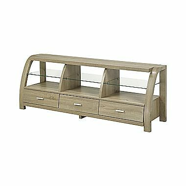 Candace & Basil 60″ TV Stand with 3 Storage Drawers and 3 Open Glass Shelves ...
