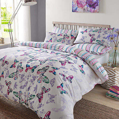 Duvet Cover with Pillow Case Bedding Set Watercolour Butterfly White Purple Blue
