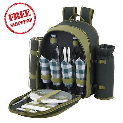 4 Person Picnic Backpack Green Outdoor Rucksack Deluxe Camping Set & Coolr Space