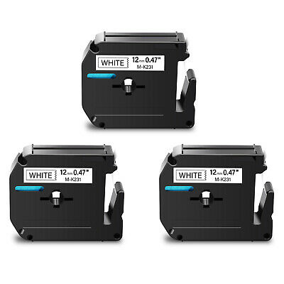 """3PK MK231 M-K231 Black on White Label Tape for Brother P-Touch PT-65 12mm 1/2"""""""
