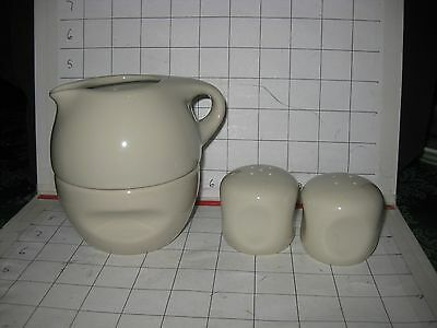 RUSSEL WRIGHT by ONEIDA STACKING SUGAR CREAMER, SALT PEPPER Linen Creme NWT